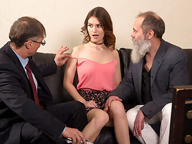 Two old men talk babe into throwing an orgy.